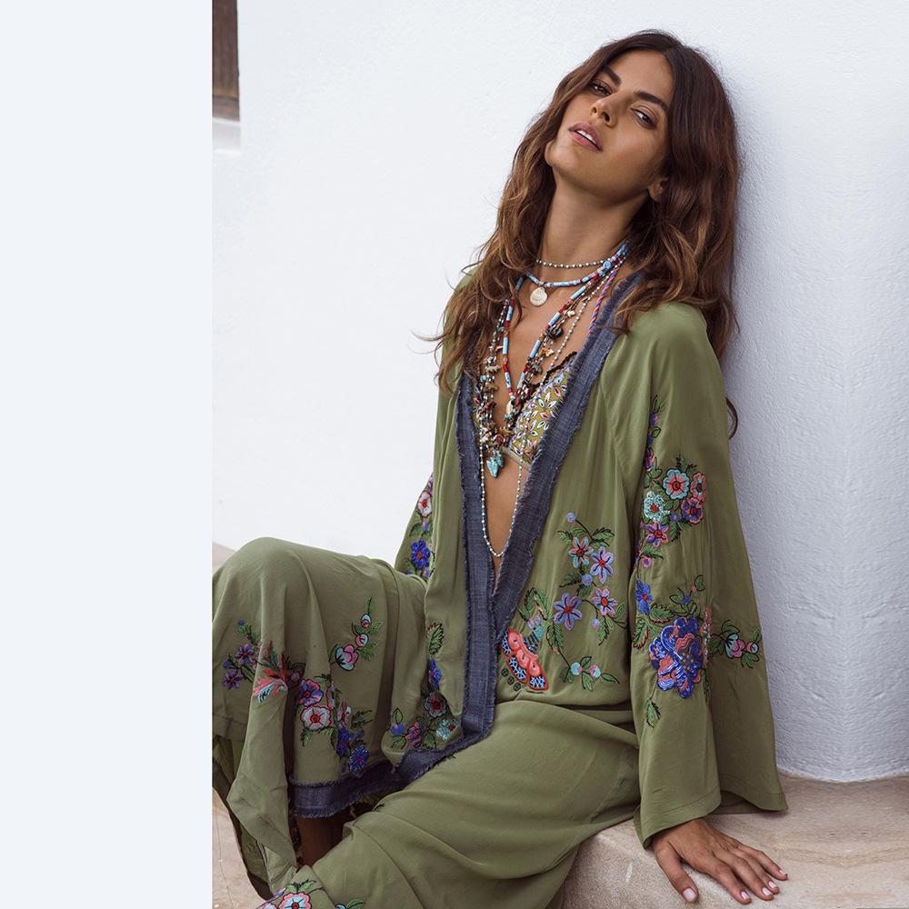 Primavera y verano Chaqueta de mujer nueva Cárdigan bordado Falda larga Vestido bordado de manga larga