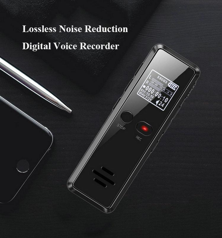 LCD Screen Digital Voice Activated Recorder Dictaphone 8GB 16GB Long Distance Audio Recording MP3 Player Noise Reduction WAV Record
