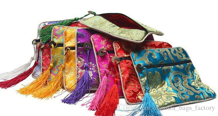 Quadrado de alta Qualidade Chinês Mancha De Seda mix 12 cores Exibição de Jóias Embalagem Bolsa de Zíper Wedding Party Favor Saco de Presente