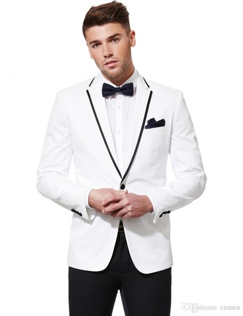 White Men Suits Wedding Suits Handsome Best Men Blazer Slim Fit Groomsmen Groom Tuxedos Prom Wear 2 Pieces (Jacket+Pants)