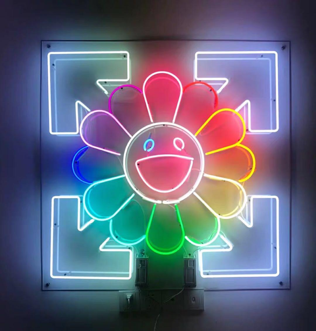 Neon Sign20 * 20 inç Güneş Çiçek Tüp Neon Işık Burcu Bira Bira Bar Pub Rekreasyon Odası Oyun Işıkları Windows Cam Duvar İşaretleri