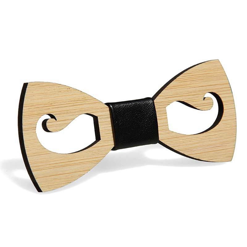 Articoli da regalo Mens Papillon accessori della festa nuziale di Natale di legno di bambù Bowtie del collo Wear Uomo Donna Foulard Bearded