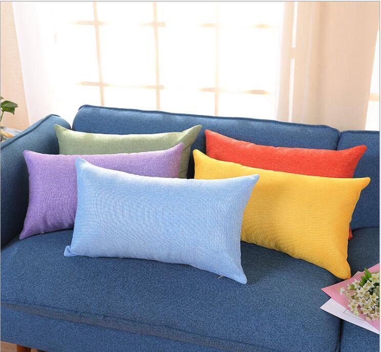 Nuevo rectángulo de algodón de lino color sólido funda de almohada almohadilla de tiro de la caja del amortiguador de la cubierta en blanco cubierta de almohadas decoración del hogar regalo 15 colores A2030