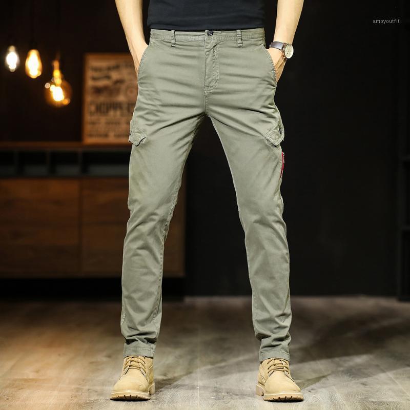 Nueva primavera y verano finos pantalones de los hombres de mitad de cintura recta ocasional Pantalón estilo tubo Multi-bolsillos Slim Fit Pantalones Hombres Pantalones Hombre1
