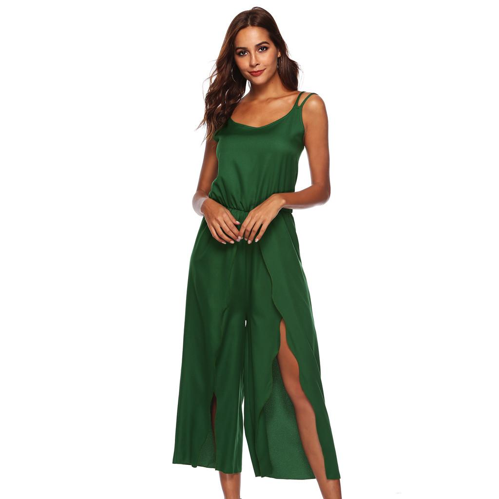 ab33006e06a 2019 Feitong Women Ladies Sleeveless Backless Loose Long Playsuits Rompers  Suit Sexy Matching Sets Elegant Jumpsuit g25 From Cutelove66