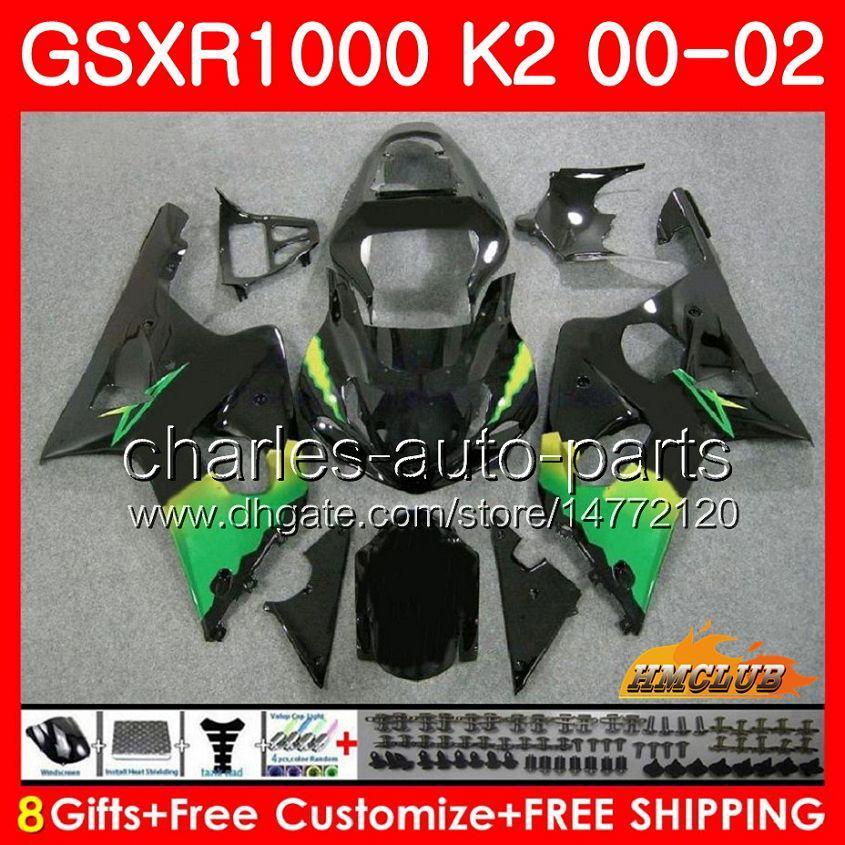 鈴木GSX-R1000 GSXR1000 K2 GSX R1000 00 02 Bodys Kit 14hc.20 GSXR-1000 Green Black New GSXR 1000 00 2000 2002 2000 2002フェアリング