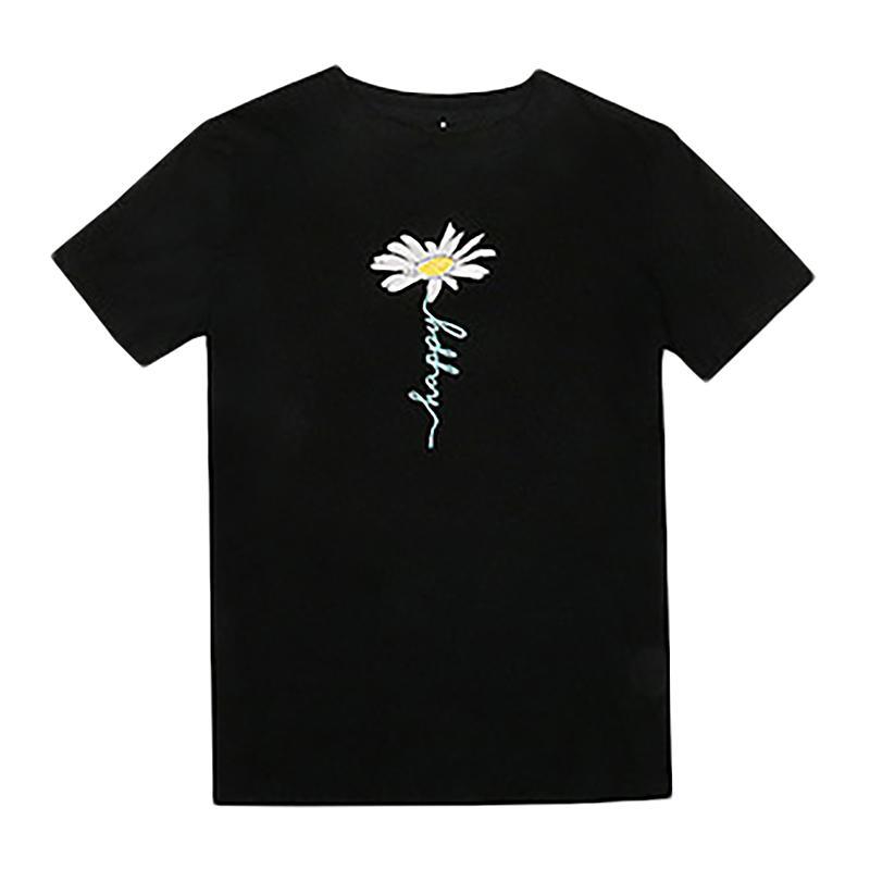 Yeni Papatya Çiçek Baskı tişörtleri Casual Streetwear Kısa Kollu Tişörtler Kadınlar Hip Hop Moda Yaz T Gömlek kadın Tops