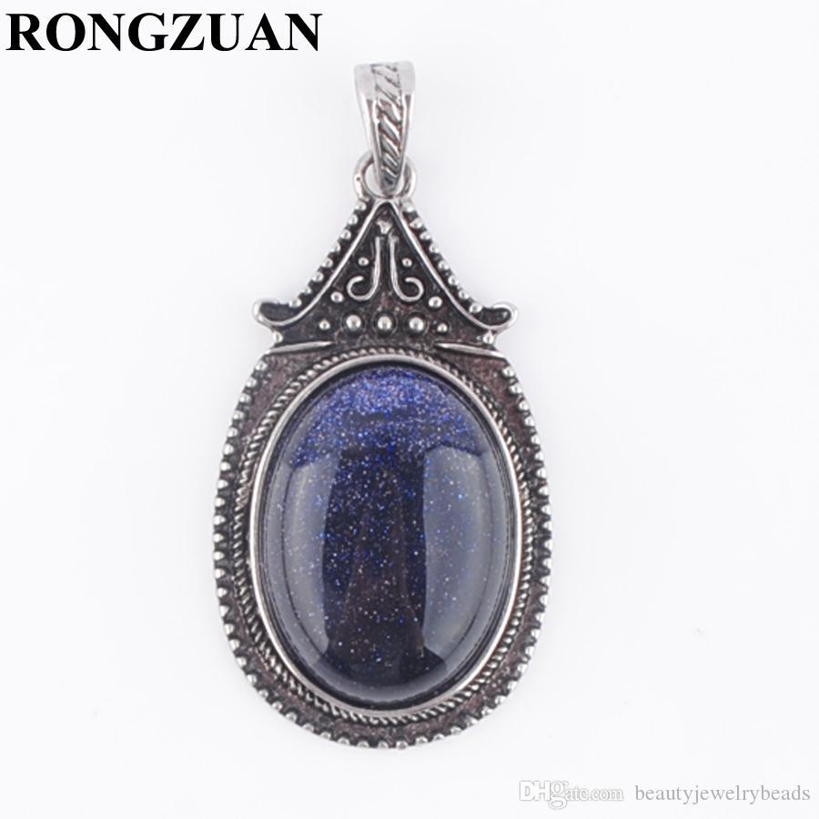 New Arrivals Retro Ancient Pendant Natural Blue Sand Stone Oval Flat Vintage Pendants Pendulum for Women Jewelry DN3697