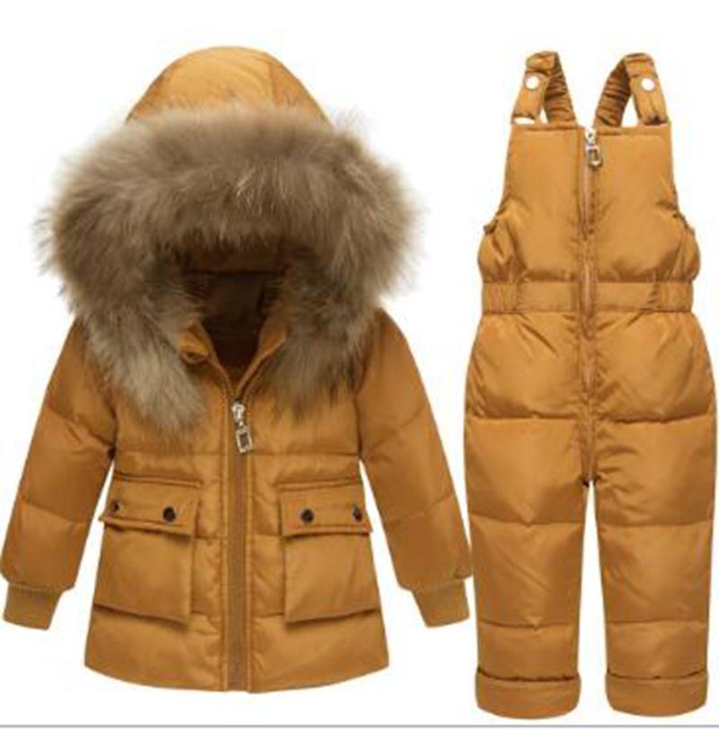 Оптовая мода новых мальчиков и девочки, младенцы и маленькие дети зимой утолщение костюмы короткий детский пуховик