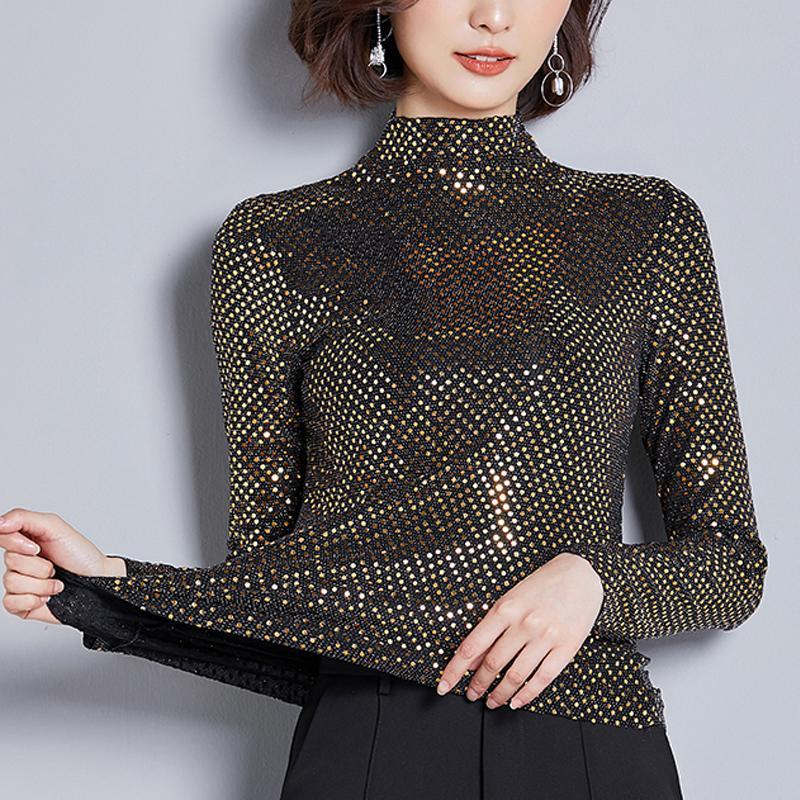 Yeni 2020 İlkbahar Kadınlar Bluzlar yarım kaplumbağa boyun Moda Payet İşlemeli uzun kollu moda Casual Gömlek Plus Size 3XL T200321
