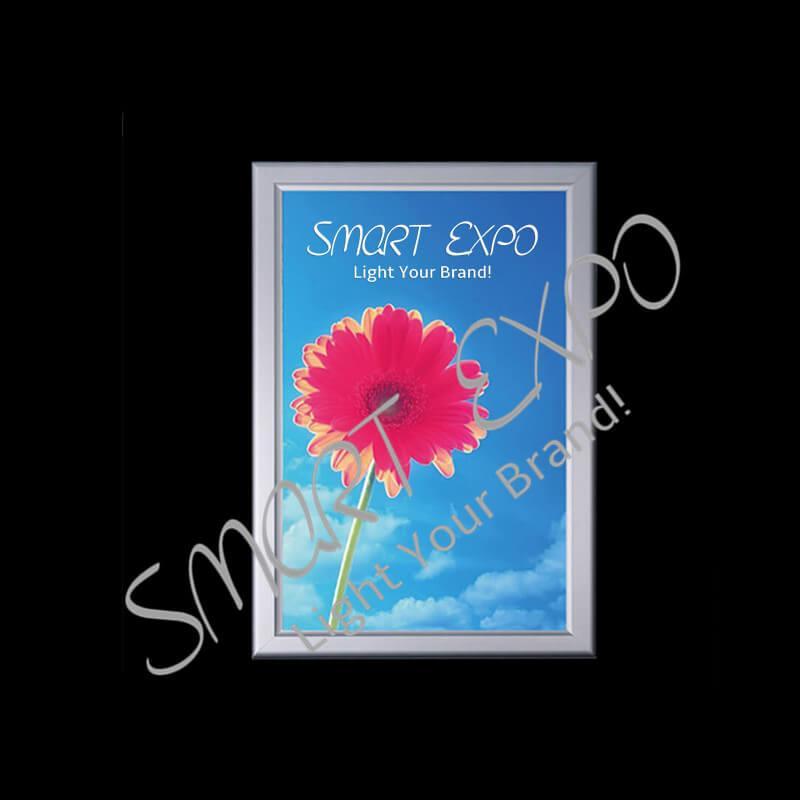 50*70cm Poster LED Lighting Box Edge-Lit 4-Side Snap Frame Single Wall Mounted Custom Adapter and Plug