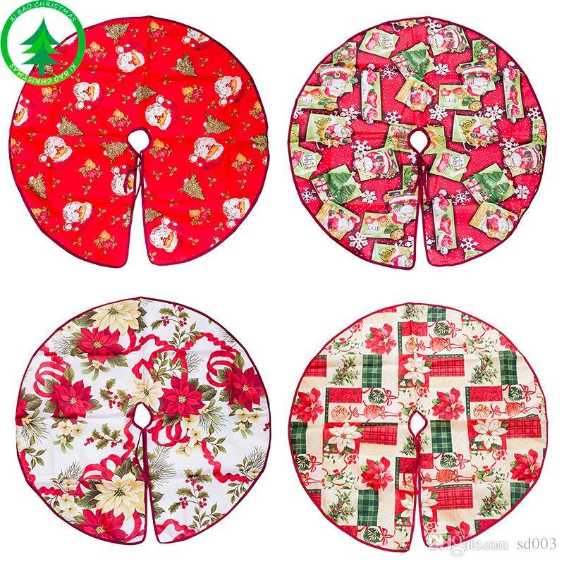 زينة عيد الميلاد شجرة تنورة الكرتون الطباعة الديكور الأشجار اللباس سانتا كلوز رئيس الزهور نمط التنانير وصول جديد 12 5xb L1