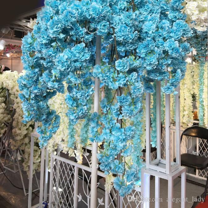 2020 Diy İpek Yapay Kiraz Çiçeği Şube Çiçek İpek Wisteria Vines Ev Düğün partisi Dekorasyon Çiçek Buket 5pcs