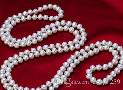Livraison gratuite Noble classique bijoux de la mer du Sud autour de 9-10mm collier de perles blanches 50 pouces 14k collier