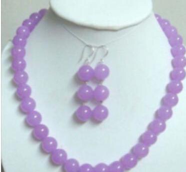Jewelryr Jade Set di Charme viola giada necklaceearring 10MM set di gioielli naturali di trasporto