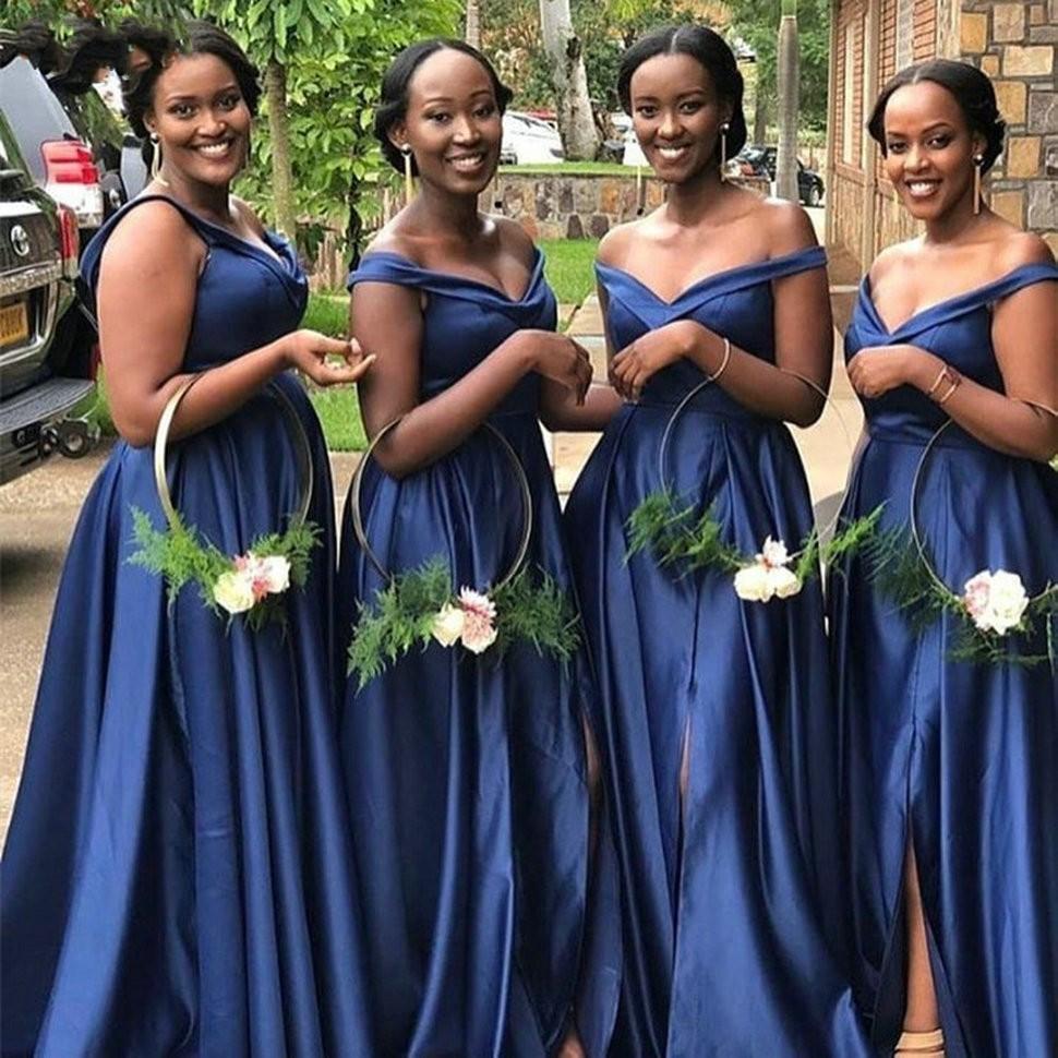 2020 Donanma Mavi Artı Boyutu Afrika Düğün Konuk Elbiseler Uzun Yan Kapalı Omuz Akşam Zarif Örgün Elbise Nedime Elbiseleri Abiye