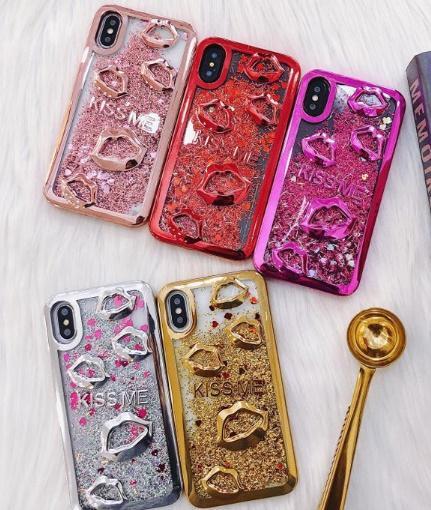 Per il nuovo iPhone bacio cassa del telefono di scintillio della scintilla Liquid Floating Quicksand per Samsung Galaxy S7 S7 S8 S8 Bordo Inoltre J7 Prime J5 Prime