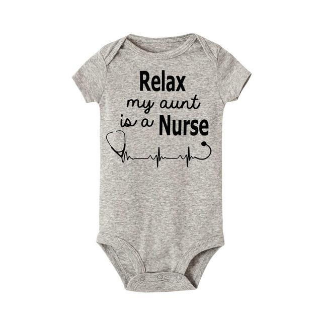Bebek bodysuit Yaz Yenidoğan Bebek Çocuk Baby için Kıyafetler Benim Teyze bir Hemşire Mektupları Baskı Onesie mi Relax Kısa kollu Suits