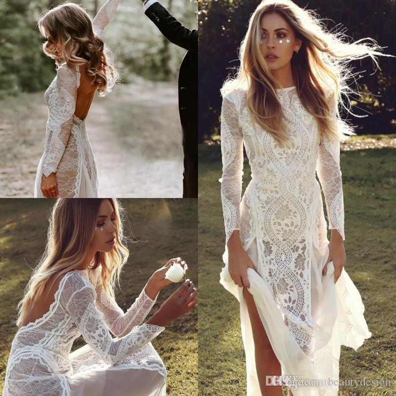 Sexy Backless Bohemian Country A Line Wedding Dresses 2020 Full Lace Sheer Long Sleeves Hippie Beach Boho Bridal Gowns Cheap Custom Made