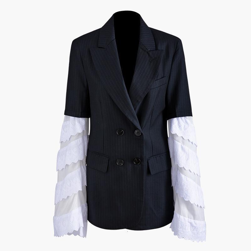 Осень и зима новая мода куртка женщины рукав Сплит сустав выдалбливают кружева отложной воротник лепесток рукава куртки