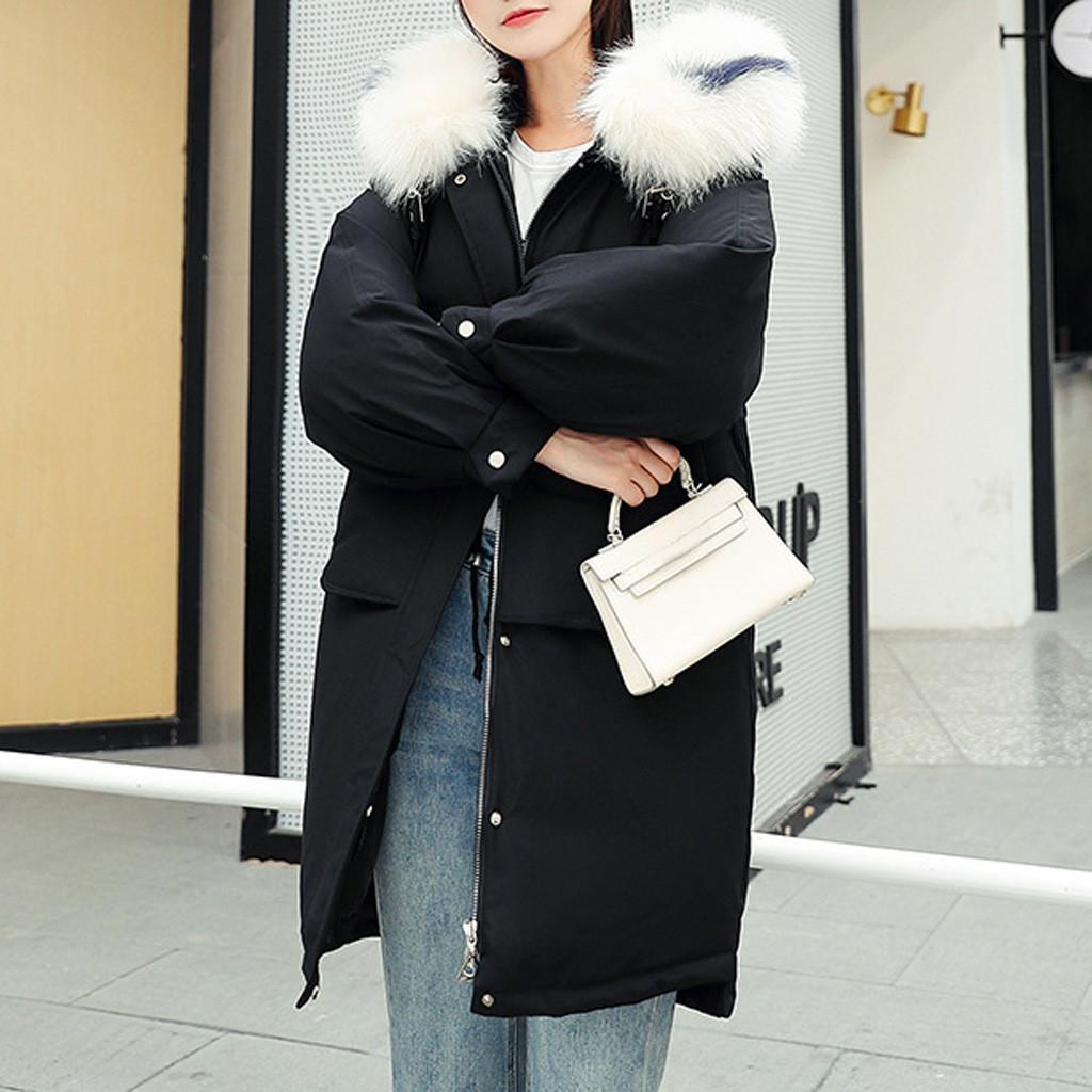 Down Jacket inverno rivestimento delle donne lane di modo delle donne Zipper Pocket con cappuccio con coulisse lunghe giacche Outwear il cappotto femminile