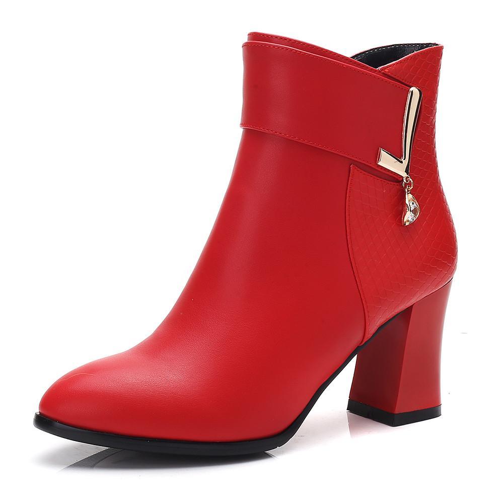 Vente-New Hot design 2019 Noir Rouge Bottines Femme Chaussures Femme Chunky talons Zip Up Chaussures Automne Bottes femme