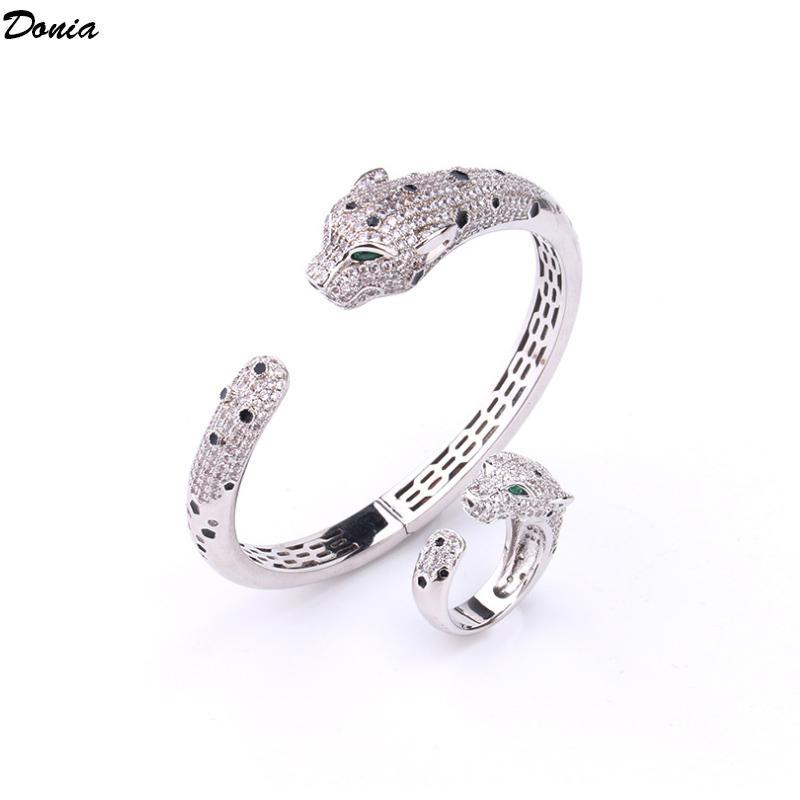 Dona gioielli europea e americana moda classica leopardo intarsiato zirconia braccialetto anello set designer braccialetto anello set