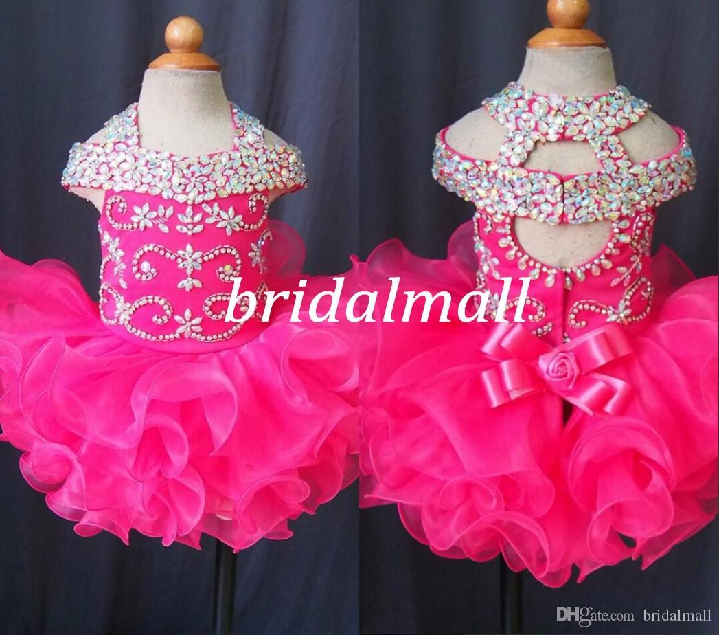 Söt 2020 spädbarn mini korta kjolar toddler tjejer ruffles blomma tjejer klänning baby girls glitz kristall beaded pageant cupcake klänningar riktigt foto