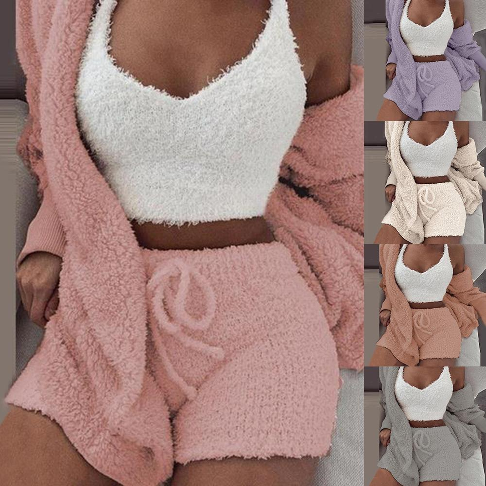 Plüschanzug Frauen 3 Stück Set Sweatshirts Jogginghose Sweatsuit Jacke Crop Top Shorts Anzug Sport Anzug Jogging Femme