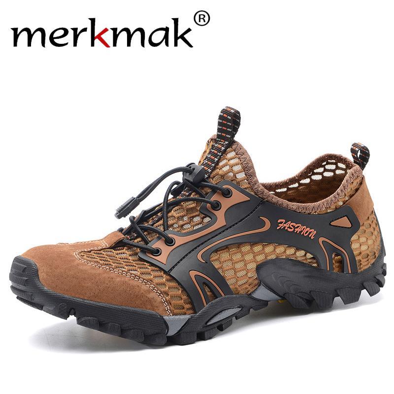Merkmak 2020 Summer Mesh respirant Chaussures hommes antidérapants Chaussures de randonnée résistant à l'usure pour hommes, grande taille 50 Chaussures de sport Casual CX200622