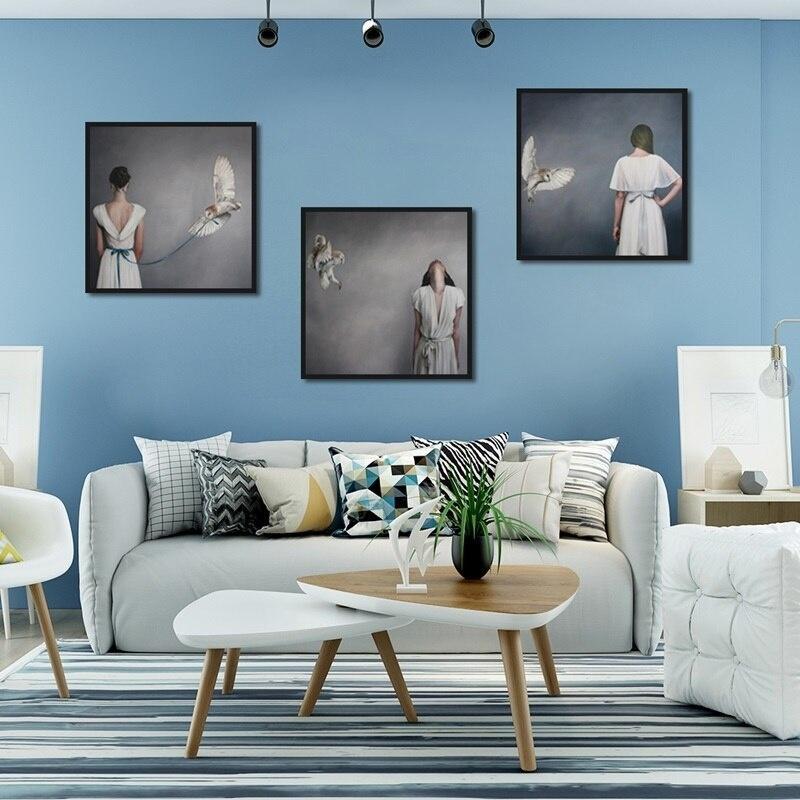 Nordic Retrato plumas blanco arte de la lona pintura al óleo del Corredor Porche cuadro de la pared de moda impresiones de los carteles de la sala de estar decoración del hogar
