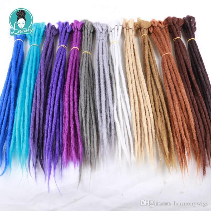 Synthetic Braiding Handmade Hip-hop Dreadlocks Hair 20Inch 22Inch Crochet Synthetic Dreadlock Braids Hair Extensions In Stock
