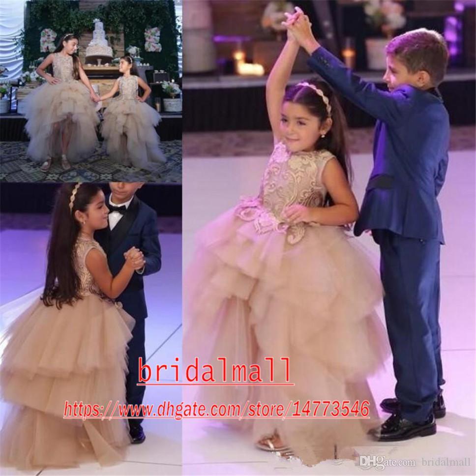 robes pageant hiérarchisé champagne Couches tulle haute à faible paillettes pour les filles filles fleur robes corset petits enfants filles Pageant bal Robes
