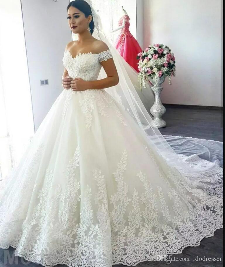 Бальное платье кружева свадебные платья с плеча развестный поезд аппликации садовые часовня свадебные платья плюс размер арабский Vestidos de Novia 2020