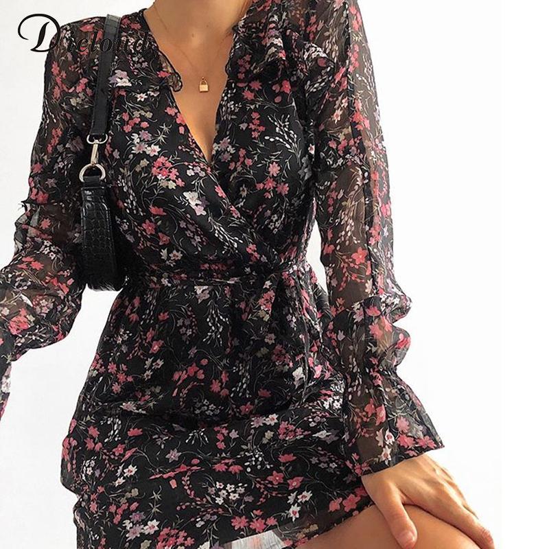DICLOUD Boho Siyah Çiçek Baskı fırfır Elbise İlkbahar Sonbahar Kadınlar Şık Parti Tatil A Hattı Elbise Bayan Moda Giyim T200320
