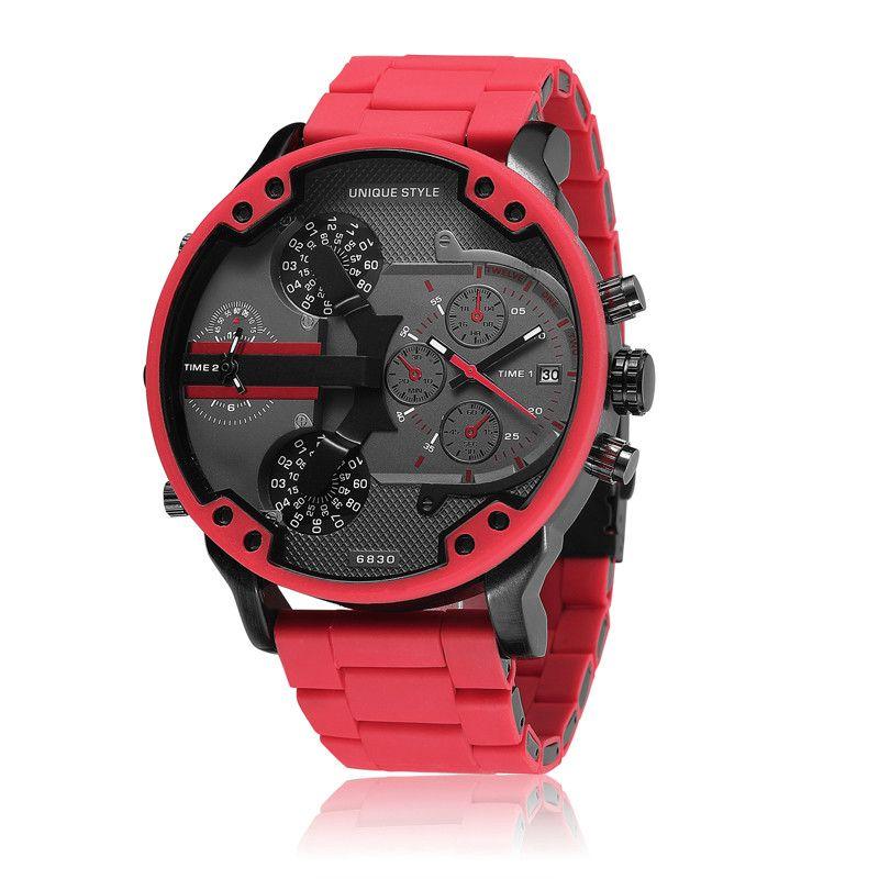 Nuevo DZ Military Sport Relojes para hombre Puntero doble Pantalla grande Dial Reloj de cuarzo Hombres Banda de acero inoxidable Relojes de moda para hombres Rojo
