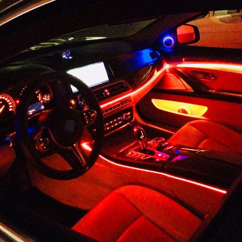 Led Car Interior Aambient Mood Light Backlight Rgb App Remote 3mm Optical Fiber Auto Decorative Dashboard Door Foot Lights 12v