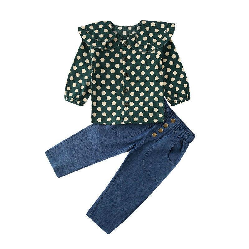 Çocuklar Bebek Kız Giyim Seti Bebek Bahar Uzun Kollu Yeşil Nokta fırfır Bluz Kot Pantolon Gündelik Kıyafet Giyim 2PCS Tops