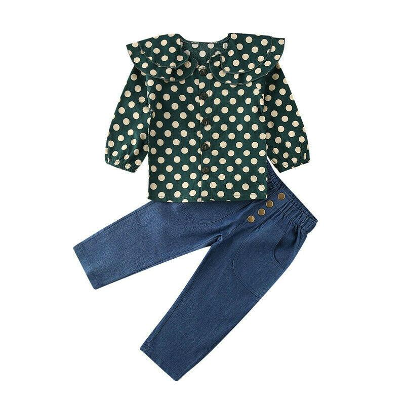 Kids Baby Girl Clothes Set Toddler Spring Long Sleeve Green Dots Ruffle Tops Blouse Jeans Pants Casual Outfit Clothing 2PCs