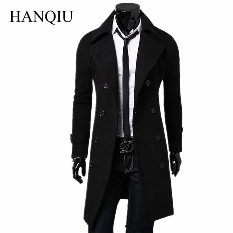 Erkek Trençkot 2019 Yeni Moda Tasarımcısı Erkekler Uzun Ceket Sonbahar Kış Kruvaze Rüzgar Geçirmez Ince Trençkot Erkekler Artı Boyutu T190829
