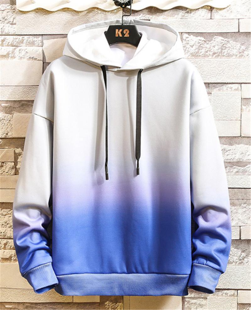 Erkek Kapşonlu Sweatshirt Spor Kazak İnce Gradient Renk Erkek Tasarımcı Erkekler Ç Boyun Kapüşonlular Spring Tops