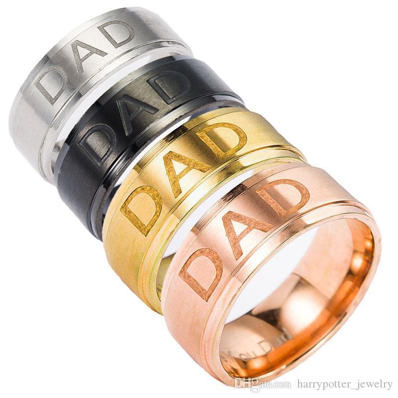 الفولاذ المقاوم للصدأ الحب لك أبي الفرقة حلقات نحت الخاتم البنصر للنساء الرجال الأزياء والمجوهرات وسترمل ساندي السفينة