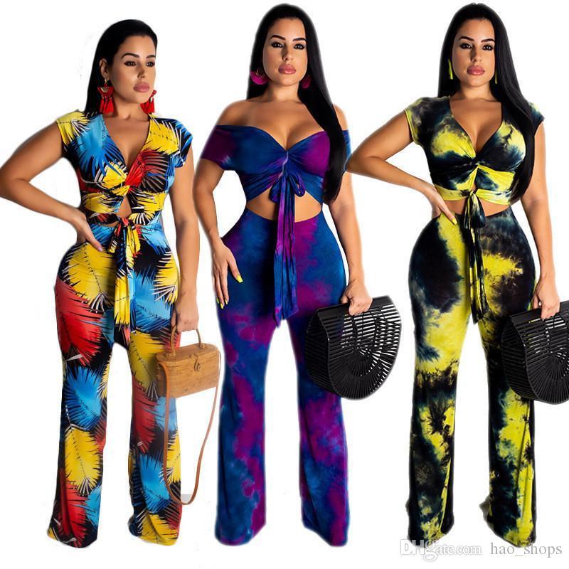 Мода Женщина Outfit с коротким рукавом с плечом Футболки Crop Top + широкая ногой Брюки 2pcs Набор Bohemia Дизайн костюм костюмы Одежда