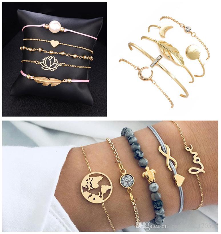 MEW FASHION Europäische und Amerikanische Cross Border Karte Armband Liebe Bogen Schildkröte String Perlen Leder Seil fünf Stück Armband Dame frei DHL