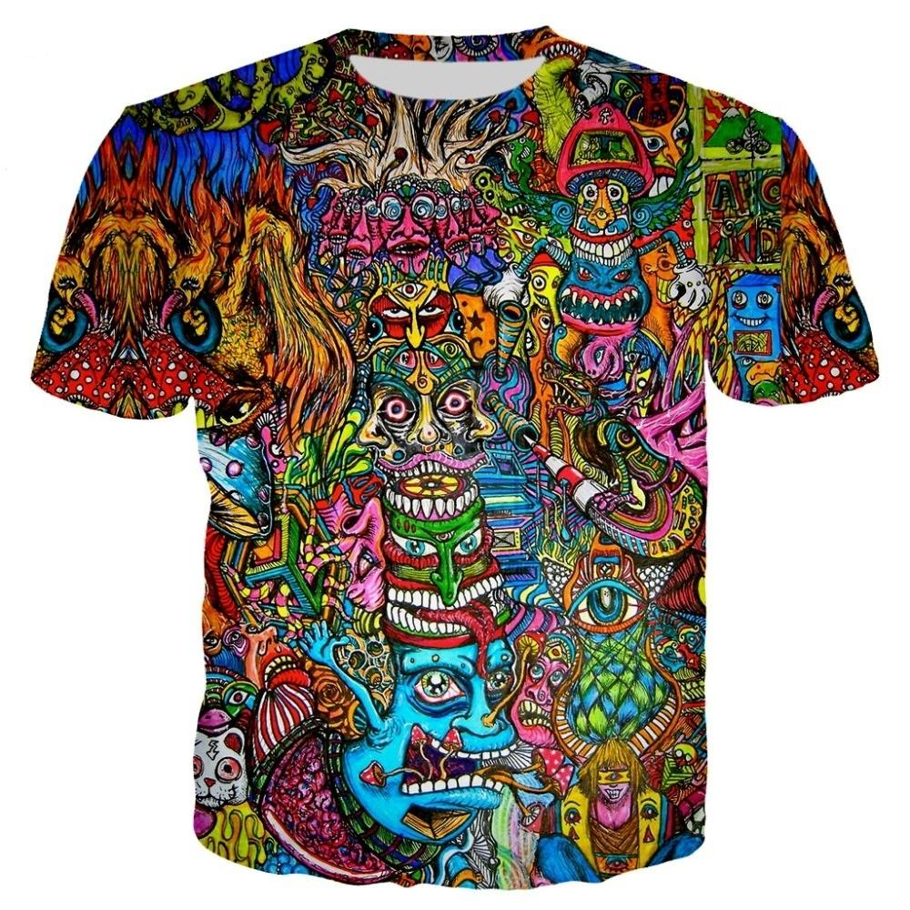 Новые Топы Моды Рубашка 3D Печать Прохладный Красочные Милые футболки Tee Мужчины / Женщины Футболка Thirt Футболки Harajuku Смешные уличные Обувь T T Футболки Trippy Eedui