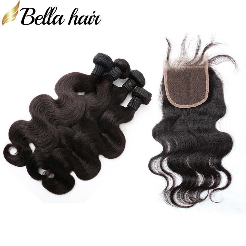 Full Head 5PCS 100% obearbetade malaysiska mänskliga jungfruliga hårväv med stängningskroppsvåg 4st Hårväft + 1PC Top Lace Closure 4x4 Bella Hair