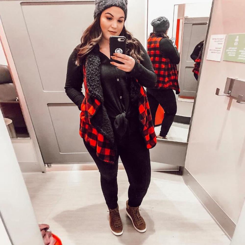 Plus Size Jackets Women Winter Plaid Thick Plush Vest Coats 2019 Fashion Ladies Sleeveless Thick Plush Warm Vest Large Size D25