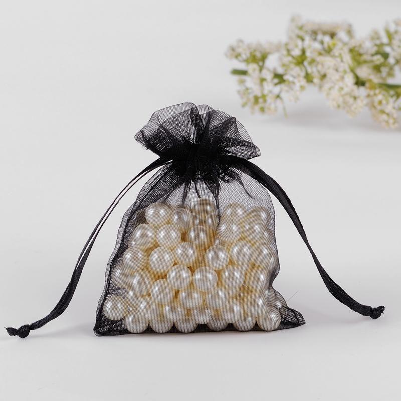도매 - 보석 프로모션 선물 사용자 정의 로고 가방 100PCS 가방을 포장 블랙 투명한 오간자 파우치 작은 포장 가방 10x15cm