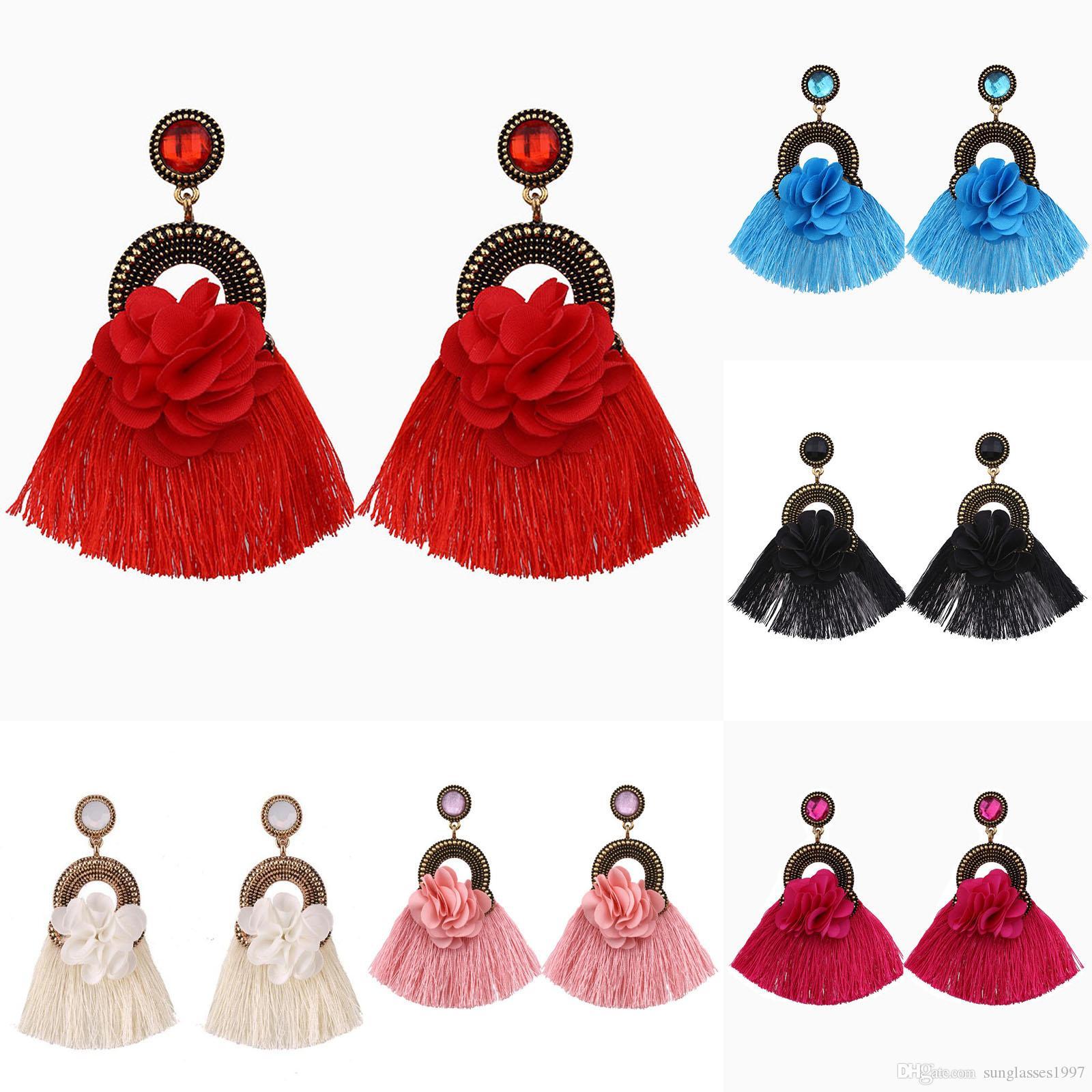 2019 yeni moda kadın renk küçük püskül küpe renkli gem boho narin elmas takı fabrika doğrudan