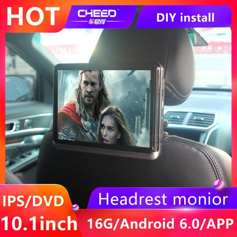 CHEED 10.1in 자동차 머리 받침 DVD 비디오 모니터 안드로이드 6.0 ARM A7 쿼드 코어 WIFI 지원 TF 카드 U 디스크 블루투스 HD 비디오 플레이어